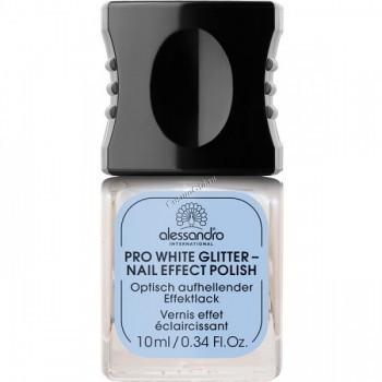 Alessandro Prm pro white glitter (Отбеливающий лак для ногтей сверкающий), 10 мл - купить, цена со скидкой
