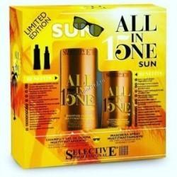 Selective Professional all in one Sun ( Шампунь многофункциональный ухаживающий за волосами, кожей головы +  Многофункциональная маска-спрей для всех типов волос), 2 препарата - купить, цена со скидкой