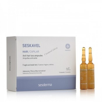 Sesderma Seskavel anti-hair loss ampoules (Ампулы от выпадения волос), 12 ампул по 8 мл. - купить, цена со скидкой